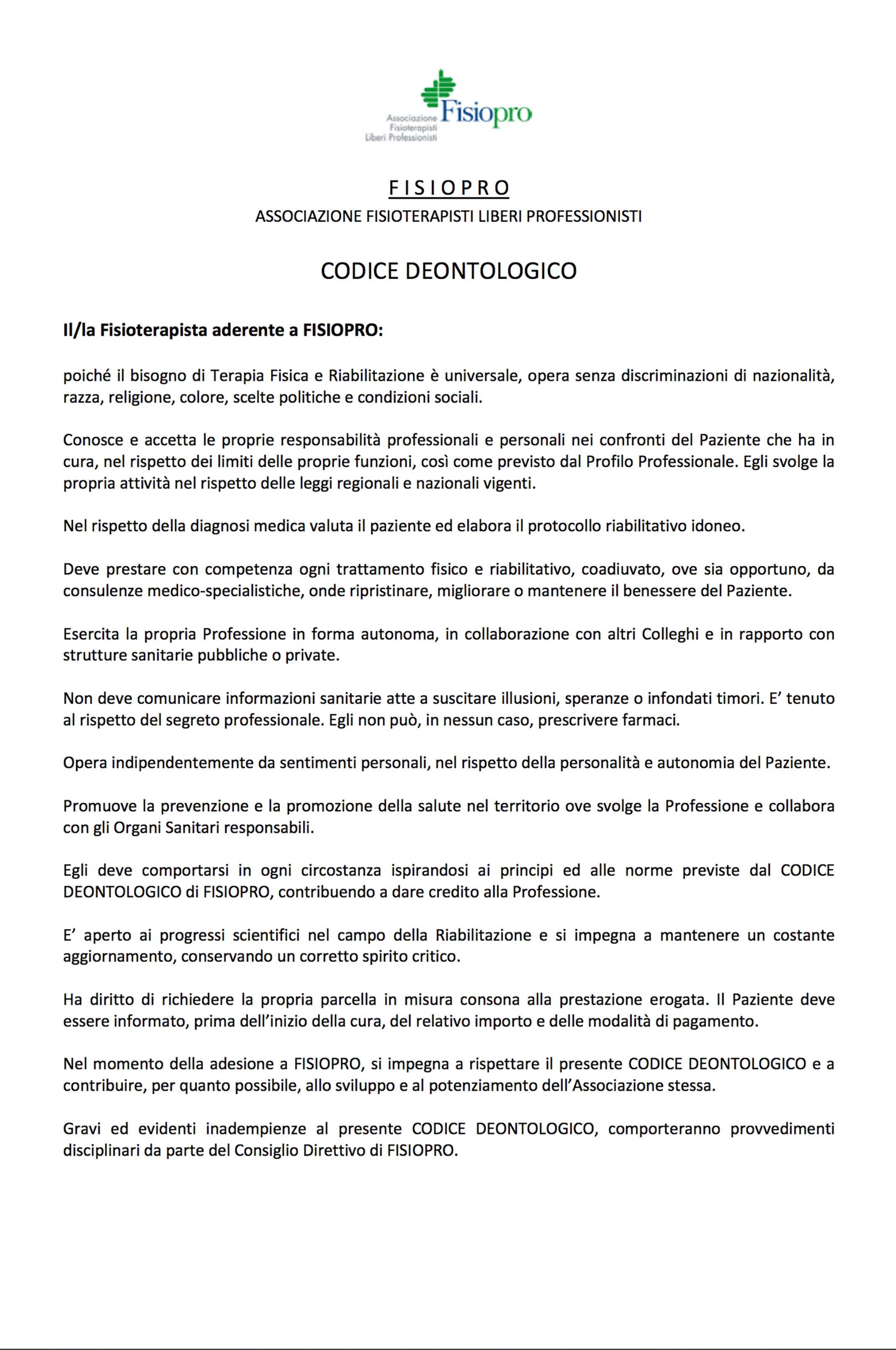 Codice deontologico Fisiopro